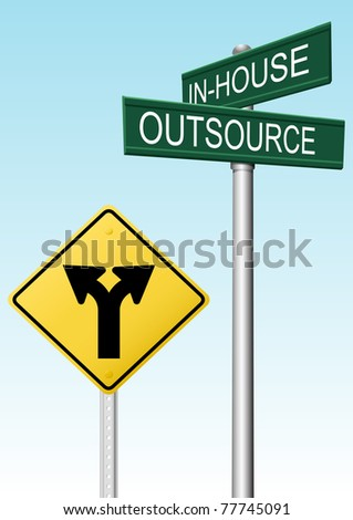Outsourcing and in house supply business decision traffic street signs - stock photo
