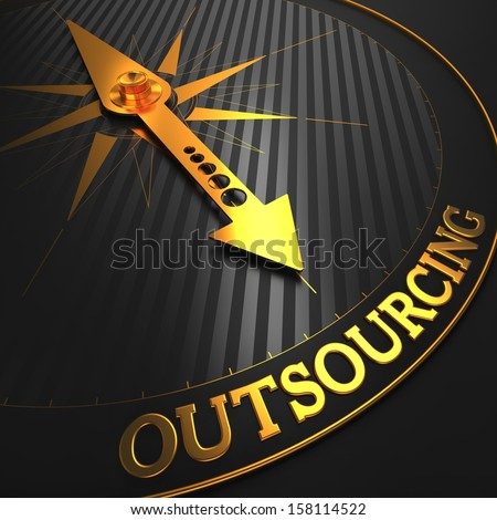 "Outsourcing - Business Concept. Golden Compass Needle on a Black Field Pointing to the Word ""Outsourcing"". 3D Render. - stock photo"