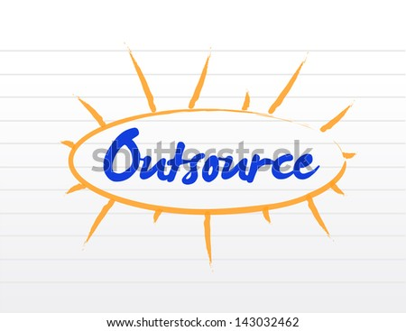 Outsourcing concept illustration over a white notepad - stock photo