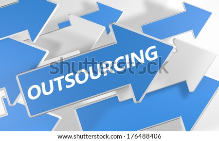 Outsourcing 3d render concept with blue and white arrows flying upwards over a white background. - stock photo