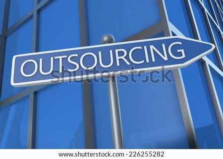 Outsourcing - illustration with street sign in front of office building. - stock photo