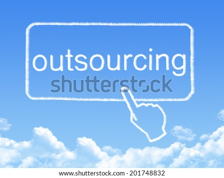 outsourcing message cloud shape - stock photo