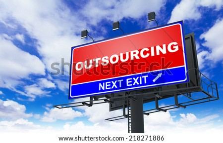 Outsourcing - Red Billboard on Sky Background. Business Concept. - stock photo