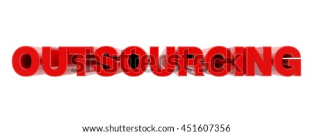 OUTSOURCING red word on white background illustration 3D rendering - stock photo