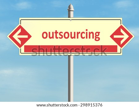 Outsourcing. Road sign on the sky background. Raster illustration. - stock photo