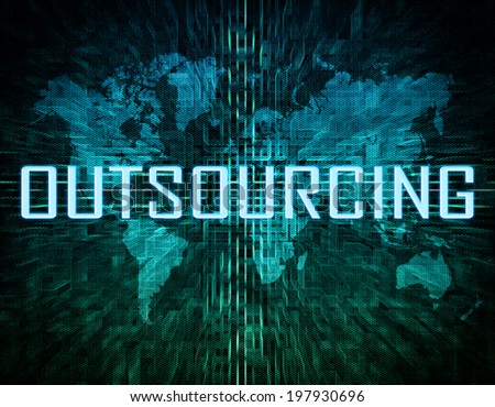 Outsourcing text concept on green digital world map background  - stock photo