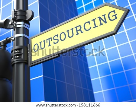 Outsourcing Word on Yellow Roadsign on Blue Urban Background. Business Concept. 3D Render. - stock photo