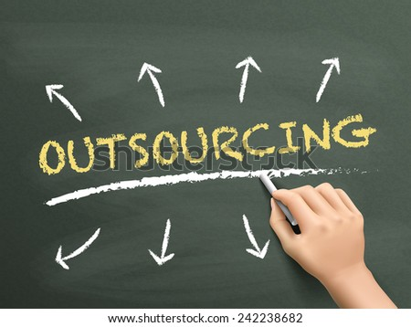 outsourcing word written by hand over chalkboard  - stock photo
