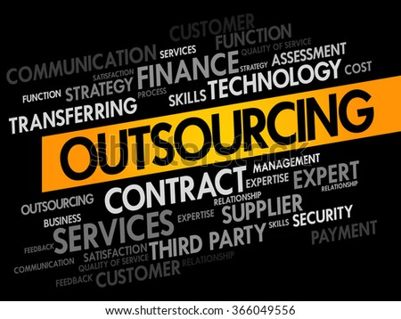 Outsourcing words cloud, business concept - stock photo