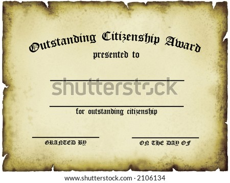 Outstanding Citizenship Award Certificate - stock photo