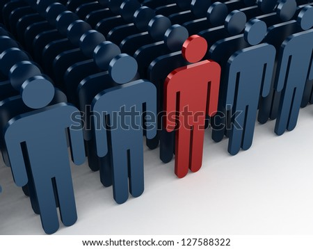 Outstanding concept, red social man be realized between other crowd social men, isolated on white background. - stock photo
