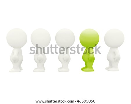 Outstanding 3D man in line - isolated over a white background