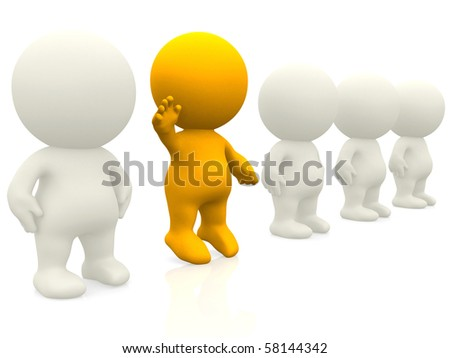 Outstanding 3D volunteer with arm up isolated over a white background - stock photo
