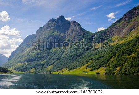 Outstanding landscape of the mountains of Sognefjord, Norway  - stock photo
