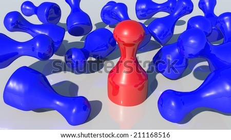 outstanding - red pawn - stock photo