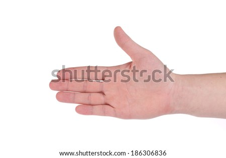 Outstretched hand. Isolated on a white background. - stock photo