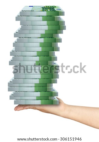 Outstretched male arm holding pile of packs of 100 euro banknotes isolated - stock photo