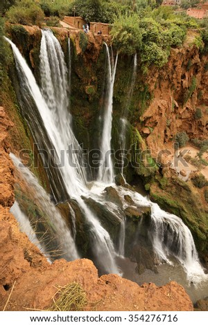 Ouzoud Waterfalls located in the Grand Atlas village of Tanaghmeilt, in the Azilal province in Morocco, Africa - stock photo