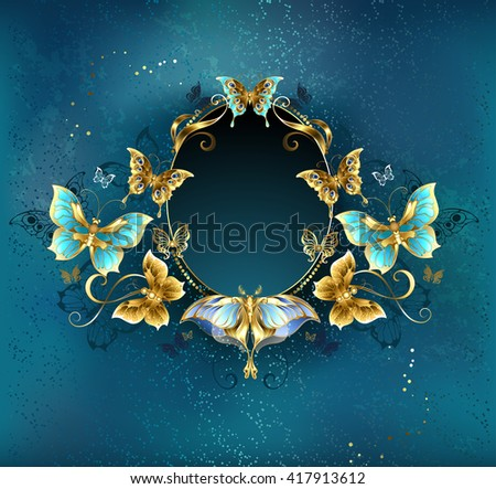 Oval banner decorated with luxurious gold butterflies on a blue background. Design with butterflies. Golden Butterfly. Bright butterfly  - stock photo