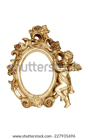 Oval baroque gold picture frame with cupid isolated on white with clipping path. - stock photo