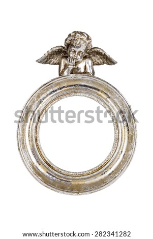 Oval baroque silver frame with cupid isolated on white with clipping path. - stock photo