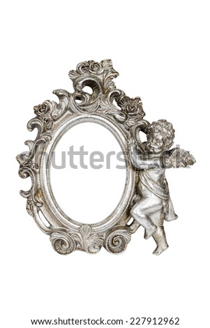 Oval baroque silver picture frame with cupid isolated on white with clipping path. - stock photo