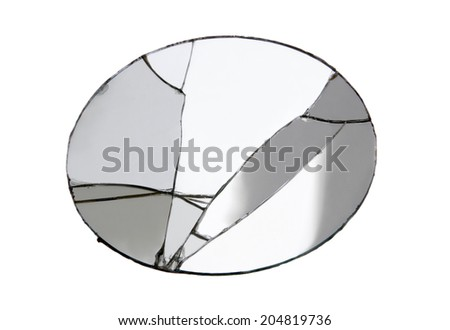 Oval broken mirror isolated on white background. Studio shot,clipping path. - stock photo