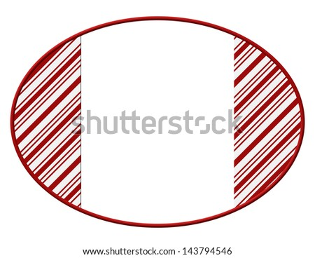 Oval Christmas Candy Cane Striped background for your message or invitation with copy-space - stock photo