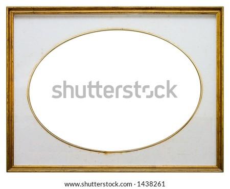 Oval frame isolated on white background - stock photo