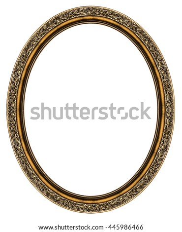 Oval frame isolated on white background - stock photo