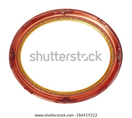 Oval photo copper-red wooden frame isolated with clipping path. - stock photo