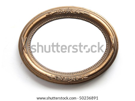 Oval photo frame isolated on white - stock photo