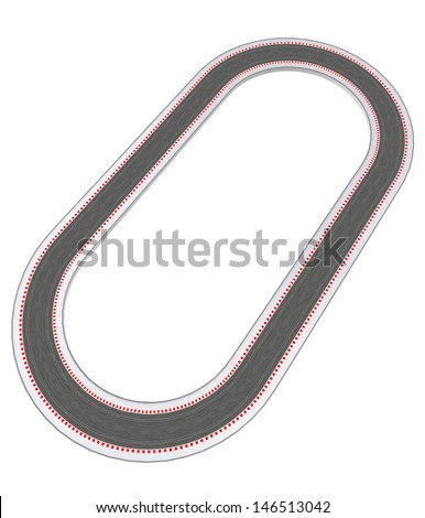 oval racetrack design in bird view illustration - stock photo