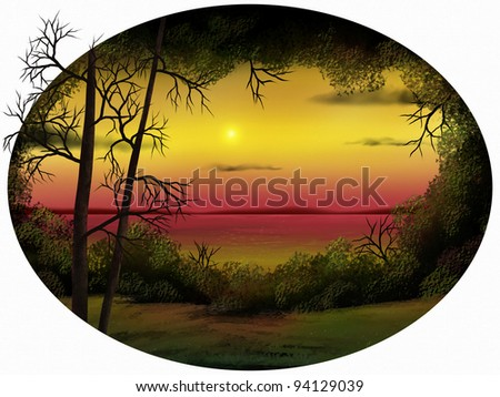 oval-shaped digital painting of a warm sunset surrounded by foliage - stock photo