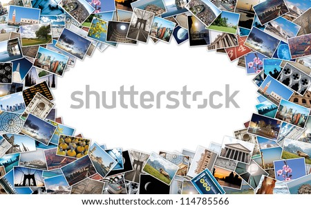 Oval stack of travel images from the world with copy space in the center. - stock photo