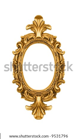 Oval vintage gold ornate frame, similar available in my portfolio - stock photo