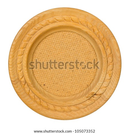 Oval wooden frame isolated on white background