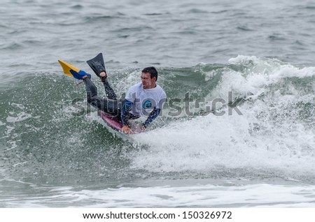 OVAR, PORTUGAL - AUGUST 16: Antonio Cardoso at the 2nd Stage of the Bodyboard Protour 2013 on august 16, 2013 in Ovar, Portugal.