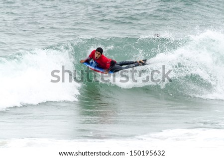 OVAR, PORTUGAL - AUGUST 15: Joao Barciela at the 2nd Stage of the Bodyboard Protour 2013 on august 15, 2013 in Ovar, Portugal.