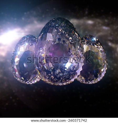 ovate Diamond Eggs on blurred Space background - stock photo