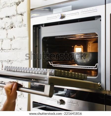 oven at kitchen - stock photo