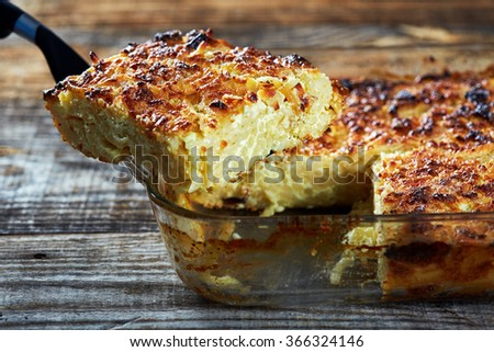 Oven baked homemade macaroni with cheese with a crispy top - stock photo