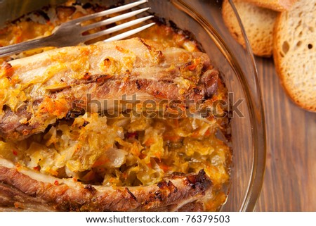 Oven baked Pork Ribs with Cabbage
