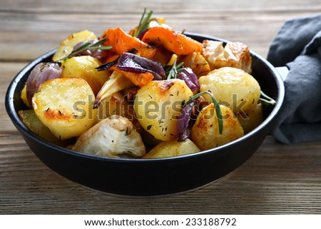 Oven-baked vegetables, food closeup - stock photo