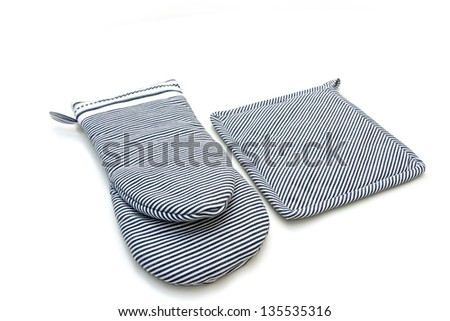 Oven gloves isolated on white - stock photo