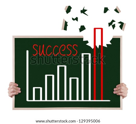 over achievement  growth graph on blackboard with hands - stock photo
