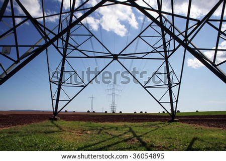 over land energy mast with metal cable