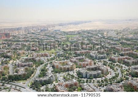 Over look Dubai new residence villa covered desert - stock photo