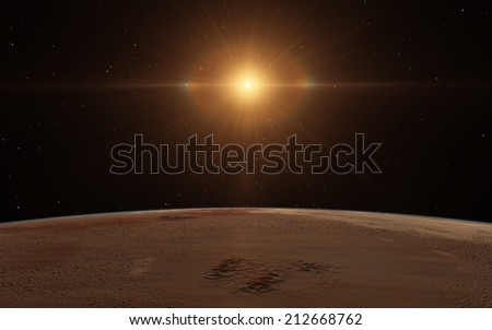 Over planet. New day dawning - stock photo