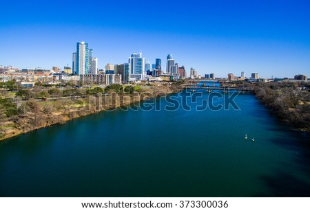 Over Town Lake Austin Texas Aerial Capital City 2016. Over Town Lake Austin Texas Aerial Capital City 2016. Right over the top of the Colorado River , over town lake or lady bird lake - stock photo